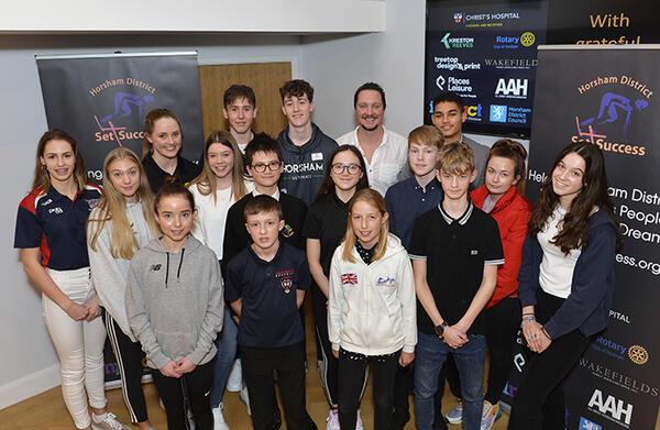 Patron Mike Goody (back row, white shirt) with S4S winners at Christ's Hospital School